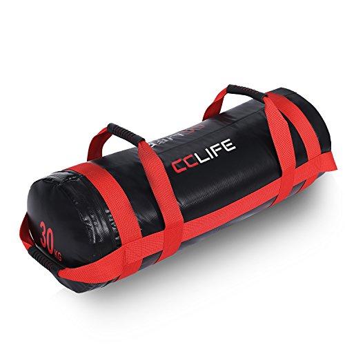 CCLIFE Gewichtssack Power Bag Sandbag 10/20/30kg Fitnessbag Sandsack Boxsack befüllter für Krafttraining Fitness, Farbe:Schwarz & Rot 30kg