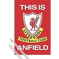 1art1 Fútbol Póster (91x61 cm) Liverpool FC This Is Anfield Y 1 Lote De 2 Varillas Transparentes