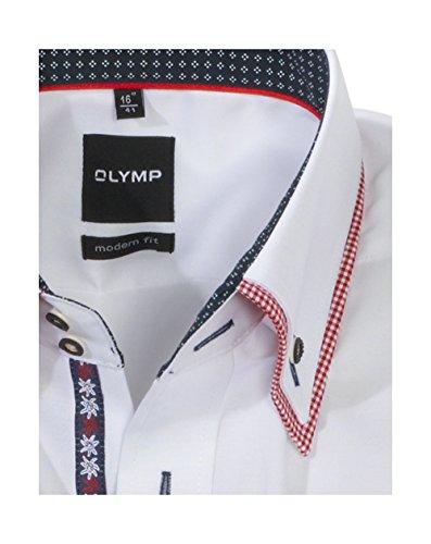 Olymp Hemd Trachtenhemd Modern Fit weiss Kariert Weiß