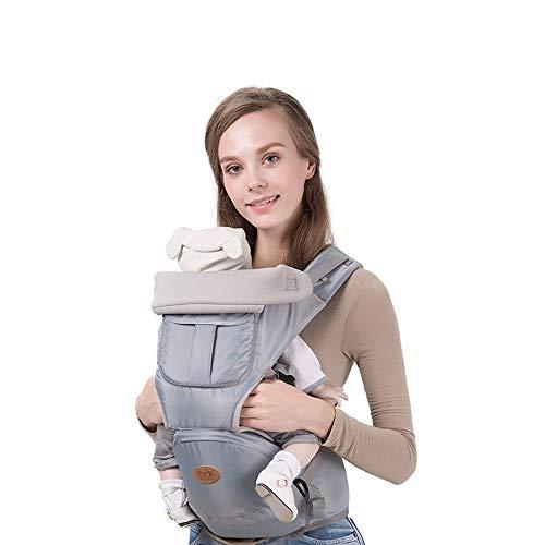 Moerc 3 In 1 Babytrage Hüftsitz Weiche Säuglingsrucksäcke Tragbare Baby Taille Hocker Atmungs Wrap Geburt Komfortable Pflege abdeckung for Babypflege (Color : Gray) -