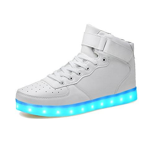 LeKuni Unisex LED Schuhe 2017 Verbesserung 7 Farbe Blinkende Leuchtende Light Up Low Top Sneakers(Größe 25-43) Silber