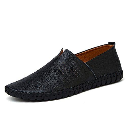 Calçados Casuais Masculinos De Couro Cht Preguiçosos Sandálias De Verão Preto
