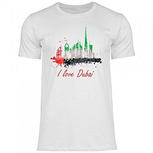 Royal Shirt rs105 Herren T-Shirt I Love Dubai mit Fahne   Arabische Emirate Städtetrip Flagge Skyline, Größe:XL, Farbe:White