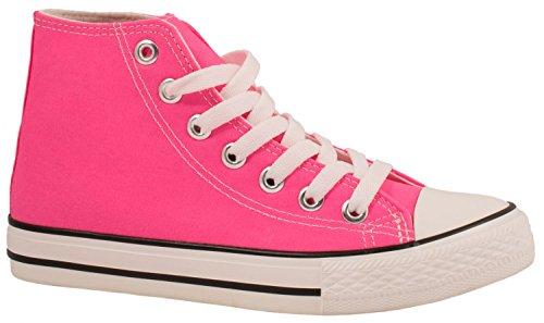 Elara Unisex Kult Sneaker | Bequeme Sportschuhe für Damen und Herren | High Top Textil Schuhe Fred 39 (High-top-sneaker Pink)