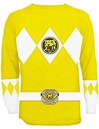 Mighty Fine para hombre amarillo Power Rangers disfraz de manga larga  camiseta 2 X bcb17426ab4
