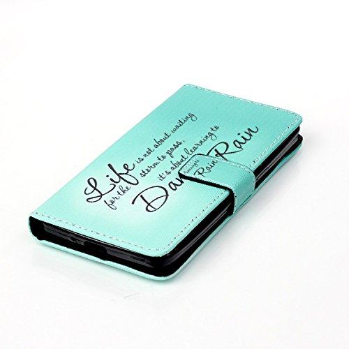 Coque pour Apple iPhone 5S/5,Housse en cuir pour Apple iPhone 5S/5,Ecoway Colorful imprimé étui en cuir PU Cuir Flip Magnétique Portefeuille Etui Housse de Protection Coque Étui Case Cover avec Stand  Life dance rain