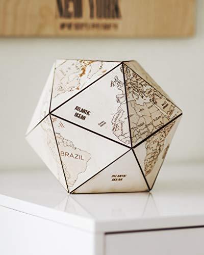EnjoyTheWood Weltwürfel aus Holz - Handgemachter Deko Globus - Ikosaeder - Zwanzigflächner