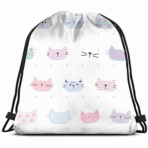 khgkhgfkgfk Cartoon cat face Design Animals Wildlife Animal Drawstring Backpack Gym Sack Lightweight Bag Water Resistant Gym Backpack for Women&Men for Sports,Travelling,Hiking,Camping,Shopping Yoga