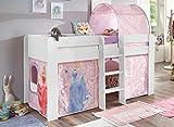 Froschkönig24 Hochbett ANDI 3 Kinderbett Spielbett halbhohes Bett Weiß Stoffset Cinderella, Matratze:ohne