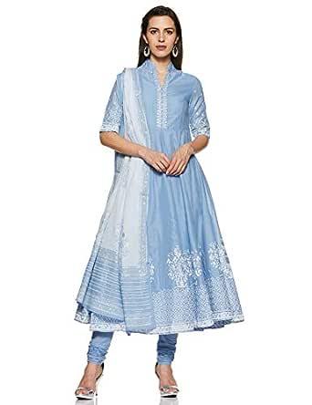 BIBA Women's cotton anarkali Salwar Suit Set (SKD5919_ Powder Blue_ 2XL (42))