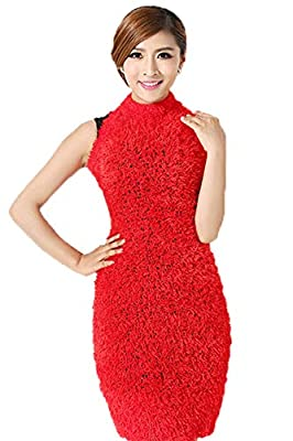 Buy My Shope Women's Faux Fur Stretchable Magic Scarf, Multipurpose Use,RED