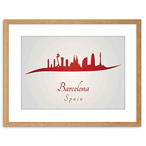 The Art Stop TRAVEL Painting Cityscape RED Barcelona Spain Framed Print F97X4407