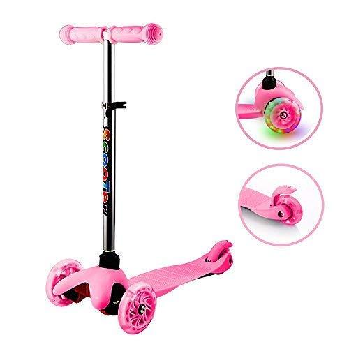 Hiriyt Kinderscooter Kinderroller 3 Räder mit PU Leuchträdern und Verstellbare Lenker für für Mädchen Junge (Rosa_2)