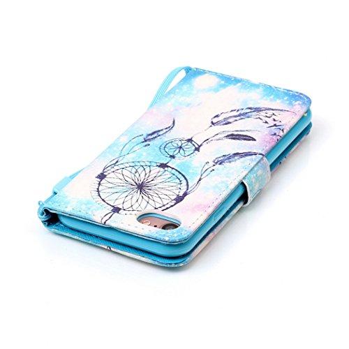 Ledowp Apple iPhone 8portafoglio in pelle, protezione integrale modello colorato design custodia in pelle custodia a portafoglio in pelle con slot per schede per iPhone 8 blu Skull #1 Wind Chime #1