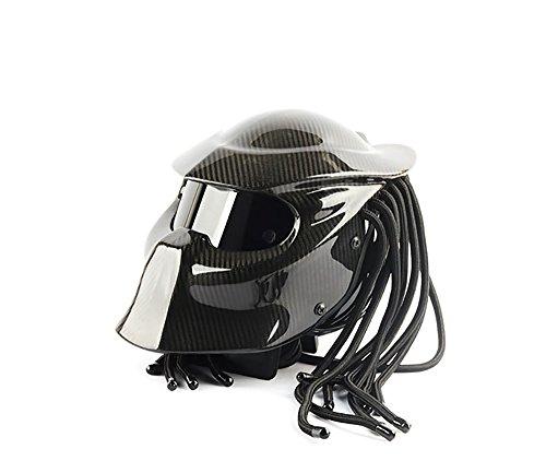YTBLF Casco Da Motociclista Predator Warrior In Fibra Di Carbonio,Black