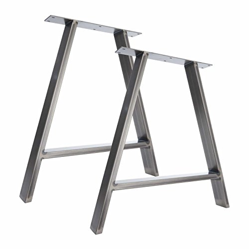 fine industrial table square trestle desk legs top insight metal tall
