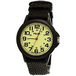 NY London Damen Herren Nylon Textil Night Glow Damenuhr Herrenuhr Armband Uhr mit leuchtendem Ziffernblatt Schwarz inkl.Uhrenbox