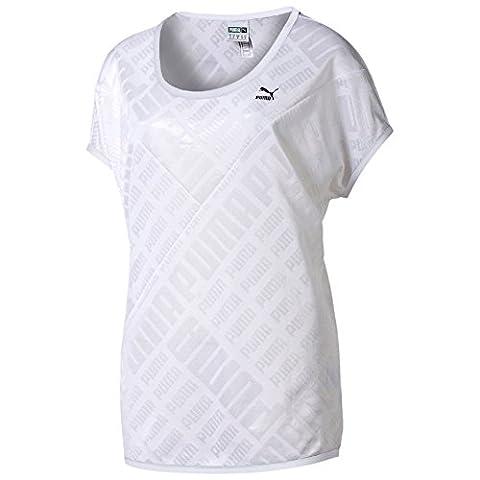 PUMA Damen T-Shirt Jacquard Tee, White, S, 569039 02
