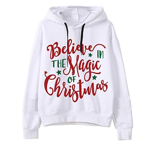 INLLADDY Bluse Top Weihnachts Kapuzenpullover Damen übersteigt mit Kapuze Sweatshirt PulloverFrauen Kapuzenjacke Bluse Weihnachten Kleidung Weiß XXL