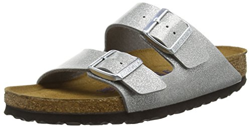 Birkenstock Damen Arizona Birko-Flor Softfootbed Pantoletten, Silber (Magic Galaxy Silver), 38 EU