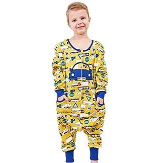 Coralup – Saco de Dormir para niños (100% algodón, con pies), diseño de pingüino de Dinosaurio