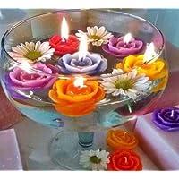 12 Pcs Multi Colour Flower Shape Floating Wax Tealight Smokeless Candles for Home Décor, Diwali Decoration