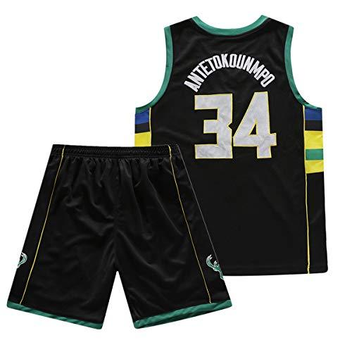 Junge Herren NBA Giannis Antetokounmpo #34 Milwaukee Bucks Retro Basketball Shorts Sommer Stickerei Trikots Basketballuniform Top & Shorts Basketball Anzug