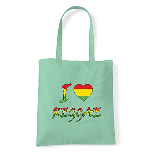 Art T-shirt, Borsa Shoulder I Love Reggae, Shopper, Mare Menta