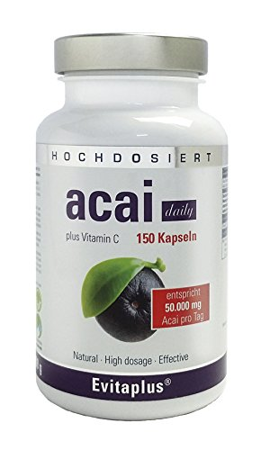 Acai-diät (Acai DAILY 50.000mg – 150 Kapseln - 30:1 - Höchstdosierte Premium Qualität auch für Veganer)