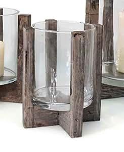 windlicht rustica holz glas h 20 cm laterne kerzenhalter. Black Bedroom Furniture Sets. Home Design Ideas