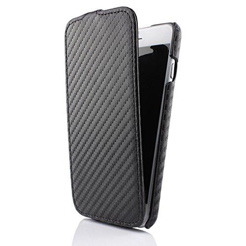 Étui iPhone 6 / 6s, Urcover Flip Housse Coque Carbone Look Téléphone Smartphone Noir pour Apple iPhone 6 / 6s Case Flip Cover Noir