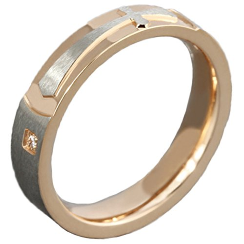 Acciaio inox CZ Croce inciso Rosa d'oro Wedding Bands donna 4MM Dimensione 17 di AieniD - Religiosi Diamante Wedding Band