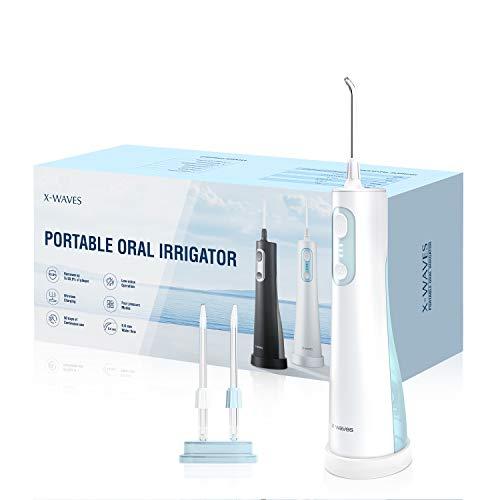 Munddusche, X-WAVES Water Flosser Zahnreiniger IPX7 Wasserdichte Munddusche kabellos mit 2 Spitzen und 4 Modi, Zahnpflege Munddusche elektrisch für Reisen, Zuhause, Erwachsene, Kinder und Jugendliche