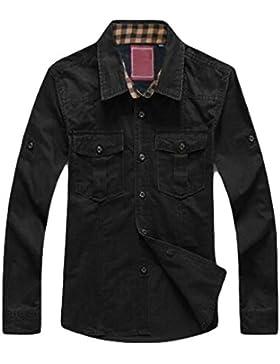 La Primavera Y El Otoño Camisa Suelta De Algodón De Manga Larga Camisa Casual De Los Hombres De Gran Tamaño