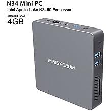 N34 Mini PC【with licensed Windows 10 Pro】Intel Apollo Lake N3450 Processor/ CPU 2.2 GHz/ Graphics 500 DDR3 / RAM 4GB/ 1000Mbps LAN/ 2.4G+5.8G(Dual Output)/ HDMI/ VGA/ 4k UKD Computadora de escritorio