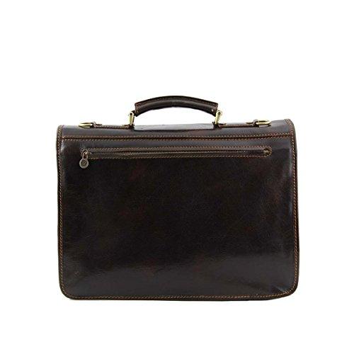 Tuscany Leather - Modena - Besace en cuir avec 2 compartiments - Grand modèle Marron - TL100310/1 Marron foncé