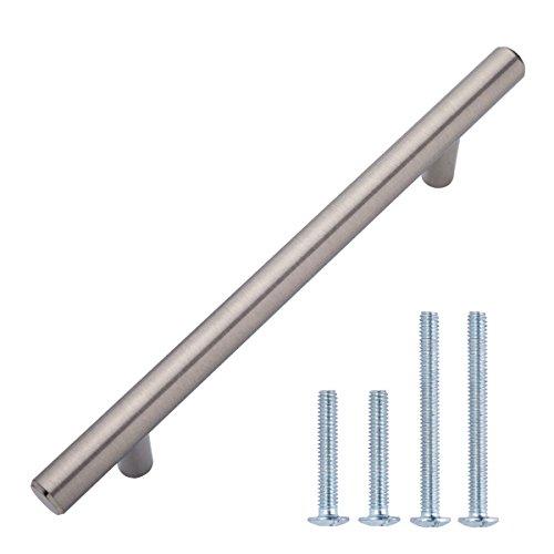 AmazonBasics - Tirador de armario en forma de barra, tipo europeo (1,27 cm de diámetro), 18,74 cm de longitud (centro del orificio de 12,7 cm), Níquel satinado, Paquete de 10