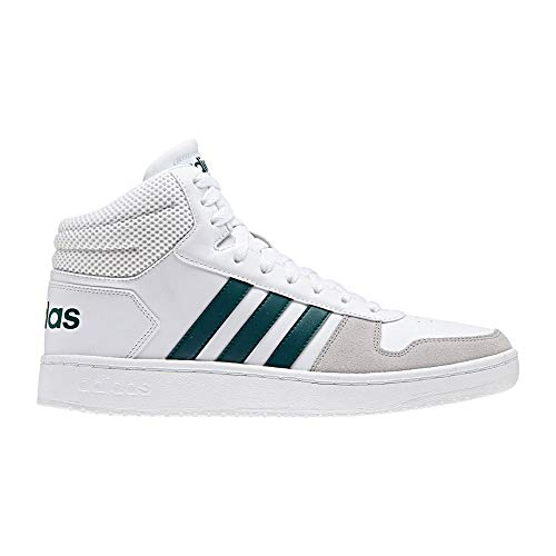 Adidas hoops 2.0 mid, scarpe da basket uomo, bianco ftwwht/nobgrn/gretwo, 43 1/3 eu