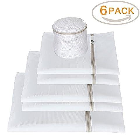 Mesh Wäschebeutel für Waschmaschine mit Beige Zip, Qozary Net Waschbeutel für Delikate, Unterwäsche, Socken - Set von 6 (Small * 2, Medium * 2, Large * 1, BH * 1)