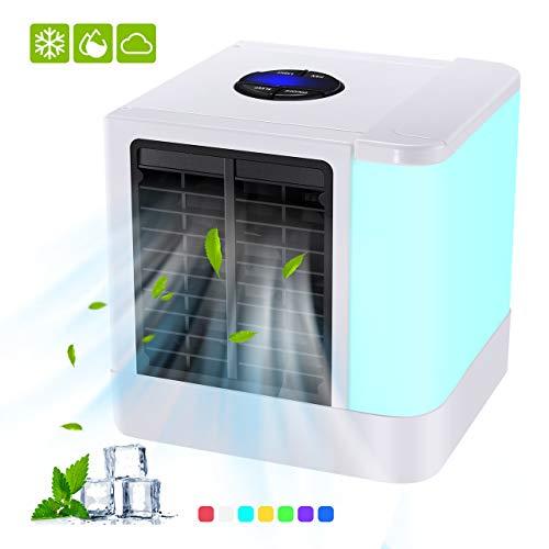 Tragbarer Luftkühler, Mini-Raumluftkühler, USB-betriebener Verdunstungsluftkühler-Luftbefeuchter und Luftreiniger, 3 Geschwindigkeiten und 7 Farben LED-Licht für Büro-, Heim- und Outdoor-Reisen