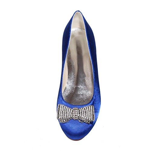 Scarpe Da Sposa Da Donna a Testa Tonda / Piatte / Party Night 9872-25 E Più Colori Disponibili Blue