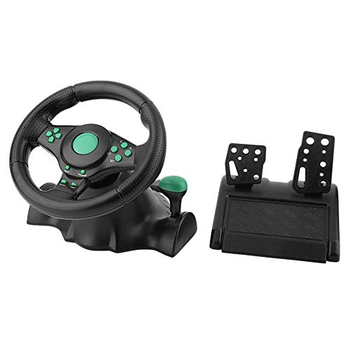 YHONG-Gamepad Hurricane Steering Wheel Volante,Corsa con Vibrazione da Gioco in ABS da 180 Gradi con Pedali