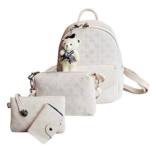 VJGOAL Damen Rucksack, Frauen Mädchen Mode Rucksack Handtasche Schultertasche Schuleinkaufstasche Crossbody Hohe Qualität Frau Geschenke(Weiß,One ()