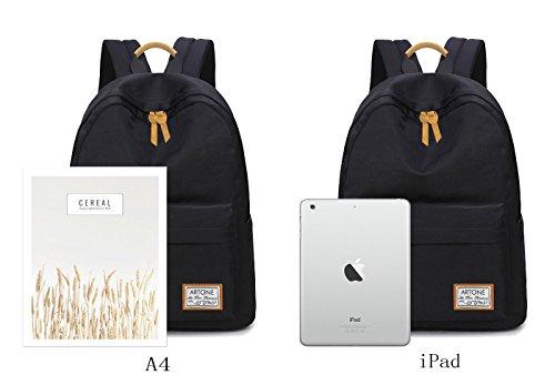Artone Wasserabweisend Grösse Kapazität Daypacks Schulranzen Rucksack Mit Laptop-Fach Passen 14 Notizbuch Grün Wasserabweisend Schwarz