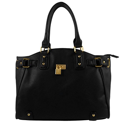 fash-gold-padlock-shopper-zipper-hobo-shoulder-handbagblackone-size