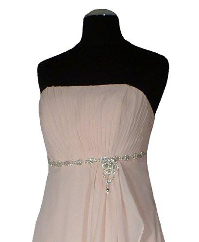 Samtlebe® - Elegantes langes Bustier Chiffon Abendkleid - CH6003 lang in Rosé Gr. 34-42 Rosé