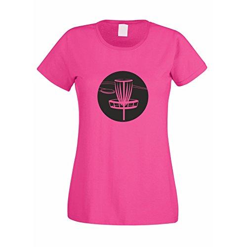 Damen T-Shirt - DISC Golf, XL, Fuchsia-schwarz