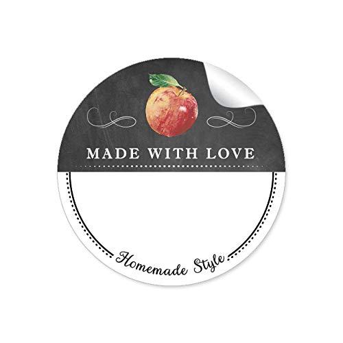"""24 STICKER WEIß SCHWARZ mit Apfel und Ornamente\""""Made with Love\"""" mit Freitextfeld für Chutneys, Apfelsaft, Apfelmus u.v.m. • Papieraufkleber: 4 cm, rund, matt"""