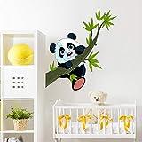 Stickers adhésifs Enfants | Sticker Autocollant Panda heureux sur une branche - Décoration murale chambre enfants | 40 x 35 c