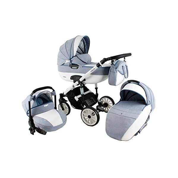Lux4Kids Pram Stroller 3in1 2in1 Isofix Colour Selection Buggy Car seat Owe White Mint OW-04 4in1 car seat +Isofix Lux4Kids Lux4Kids Owe 3in1 or 2in1 pushchair. You have the choice whether you need a car seat (baby seat certified according to ECE R 44/04 or not). Of course the car is robust, safe and durable Certificate EN 1888:2004, you can also choose our Owe with Isofix. The baby bath has not only ventilation windows for the summer but also a weather footmuff and a lockable rocker function. The push handle adapts to your size and not vice versa, the entire frame is made of a special aluminium alloy with a patented folding mechanism. 2